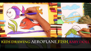 kids colouring pictures colouring aeroplane fish baby doll