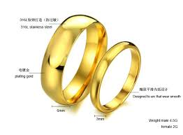 wedding rings new images Gold glossy circle simple couple rings new free shipping 316l jpg