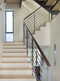 Banister Staircase Toronto Wood Stair Railing Hall Rustic With Recessed Lighting
