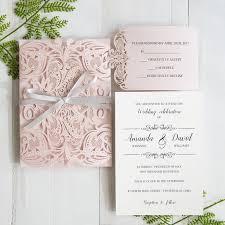 blush pink laser cut wedding invitation with gray band