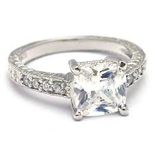 engagement rings cushion cut cushion cut cubic zirconia engagement ring with side stones