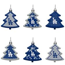 los angeles dodgers six pack shatterproof tree ornament set