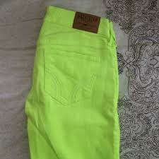 Hollister Skinny Jeans Mens 56 Off Hollister Denim Hollister Skinny Neon Yellow Green Jeans