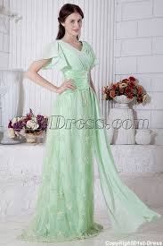 sage green large size prom dress with short sleeves img 7145 1st
