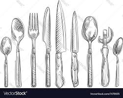 Set Of Kitchen Knives Cooking Hand Drawn Set Of Kitchen Tools Spoon Vector Image