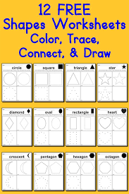 12 free shapes worksheets color trace connect u0026 draw shapes