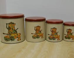 metal canister set vintage ransburg roosters white gold