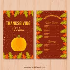 vintage menu with thanksgiving pumpkin vector free