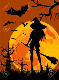 halloween trees halloween theme wallpaper with silhouettes of witch moon
