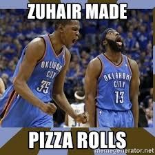 Pizza Rolls Meme - zuhair made pizza rolls durant james harden meme generator