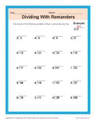 dividing with remainders free printable math worksheets
