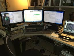 Three Monitor Desk Antarctica Srsly Actually It Mostly Is A Desk Job