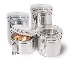 kitchen canisters stainless steel stainless steel kitchen canister sets ebay