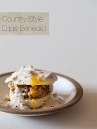 country style eggs benedict breakfast recipe spoon fork bacon