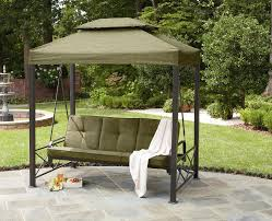 patio canopy swing single seater green pillow solid metal frame