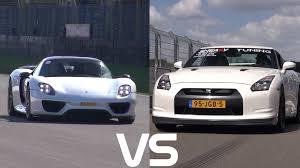 drag race porsche 918 spyder vs 1325hp nissan r35 gt r youtube