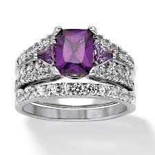 Purple Wedding Rings by 3 91 Tcw Emerald Cut Purple Cubic Zirconia Two Piece Bridal Set In