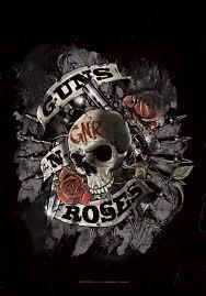 guns n roses skull fabric poster