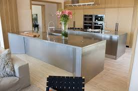 unique double stainless steel kitchen island reed interiors