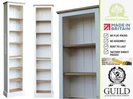 Narrow Bookcase White by Solid Wood 7ft Tall Narrow Slim Jim Bookcase
