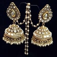 buy jhumka earrings online buy bridal pearl kundan big teardrop jhumka india
