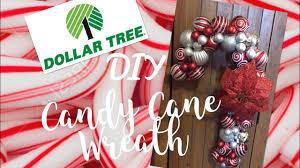 dollar tree diy ornament candy cane wreath tutorial youtube