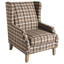 Upholstered Wingback Chair Scott Living 904052 Upholstered Wingback Chair With Plaid Design