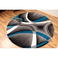 Modern Abstract Area Rugs Persian Rugs 2305 Turquoise 6 Foot Round Modern Abstract Area Rug