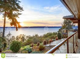 wraparound deck modern two story panorama house with wraparound deck stock photo