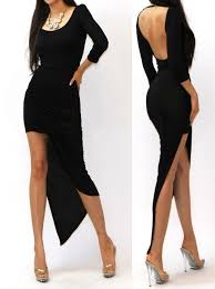 Draped Long Sleeve Dress Chic 3 Color Long Sleeve Asymmetric Drape Backless Jersey