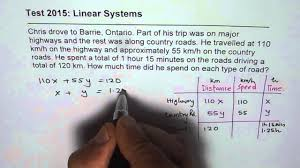 linear system test distance time speed word problem youtube