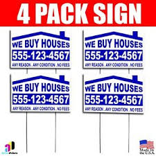 4x we buy houses yard bandit signs your phone number real estate