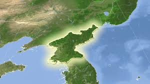 Korea On Map North Korea On The Satellite Map Outlined And Glowed Elements Of