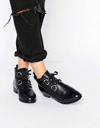 womens boots uk asos asos amar leather lace up brogue boots black leather womens asos