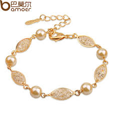 gold bracelet with pearls images Bamoer luxury simulated pearl bracelet for women champagne gold jpg