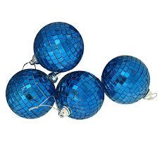 4ct blue mirrored glass disco ornaments 4