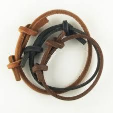 leather bracelet knots images Thin leather strap bracelet with knots jpg