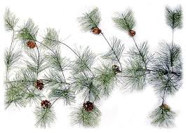 9 foot artificial smokey pine garland with pine cones