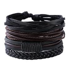 leather black bracelet images Mens leather black brown layered bracelet genius department store jpg