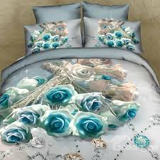 3d blue roses and diamond printed cotton 4 piece bedding sets