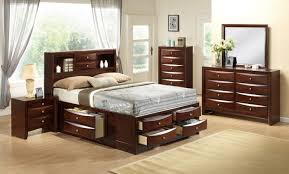 Bedroom Sets Traditional Style - crown mark b4255 q set emily 4 pieces brown queen storage bedroom set