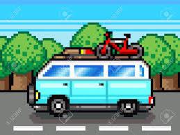 pixel art car family road trip summer vacation holidays pixel art retro clipart