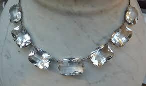 vintage crystal choker necklace images Vintage chunky cushion cut rock crystal choker necklace open back JPG