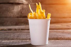 table snack cuisine fries in a cup stock image image of fries cuisine 70883233