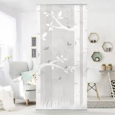 Wohnzimmer Raumteiler Flächenvorhang Set Birkenwald Mit Schmetterlingen Und Vögel