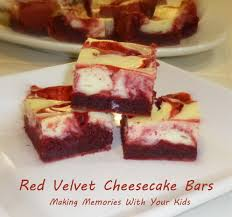 red velvet cheesecake bars making memories with your kids
