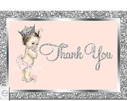 printable thank you cards princess display shower card blue gray chevron baby shower boy