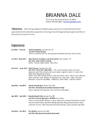 Warehouse Job Titles Resume by 2016 Brianna Dale Resume