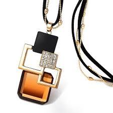 pendant necklace chain length images Women 39 s fashion chain length crystal pendant necklace wakiendo jpg