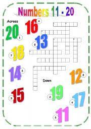 english teaching worksheets numbers 11 20